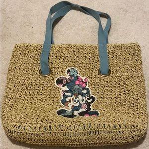 Rare Disney Straw Tote/ Beach Bag